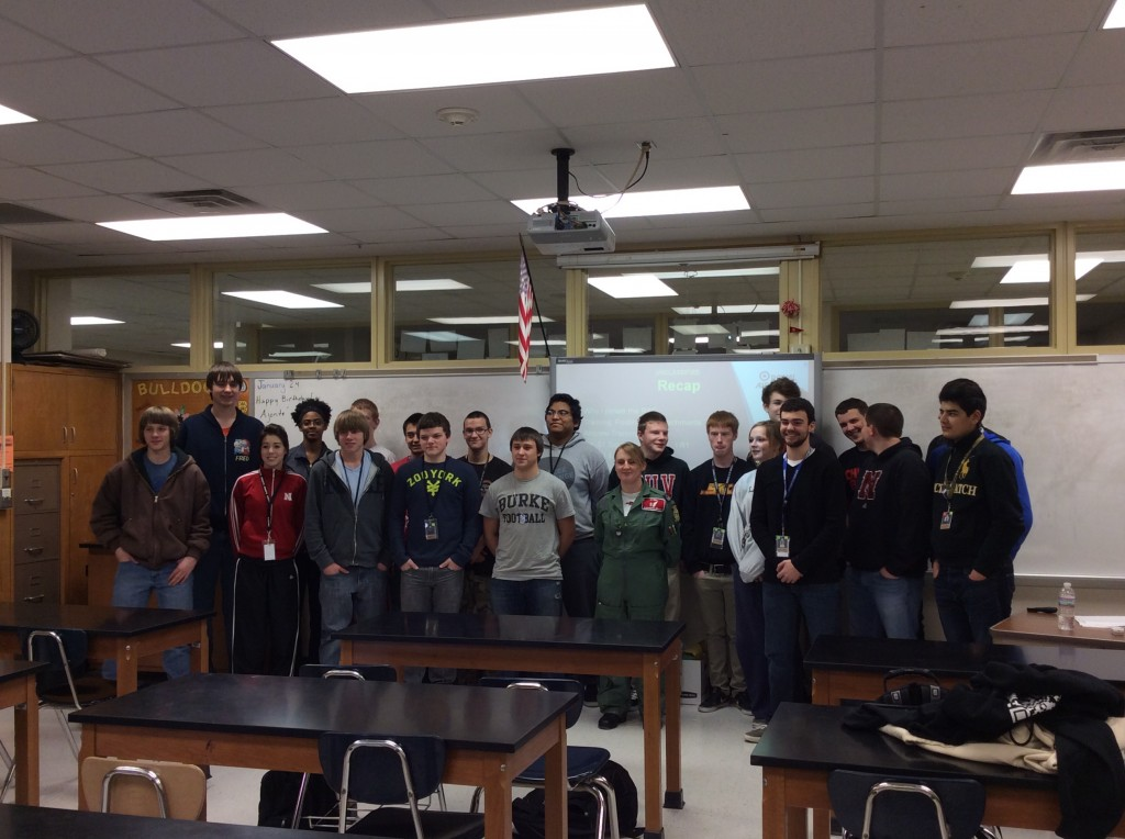FS Brady with the Aviation and Aerospace students from Burke High School