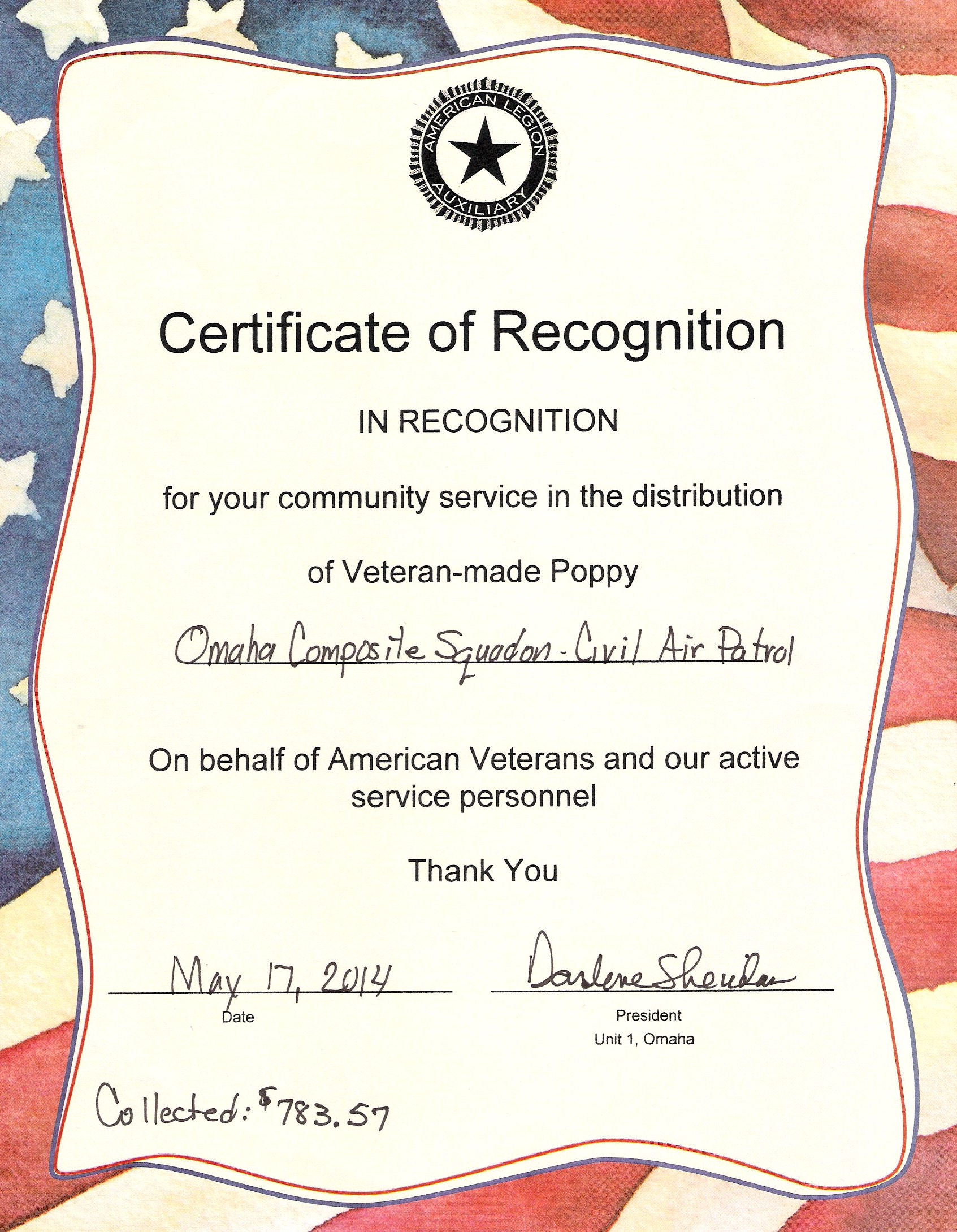 Poppies for Veterans – Results for OCS | Omaha Composite Squadron