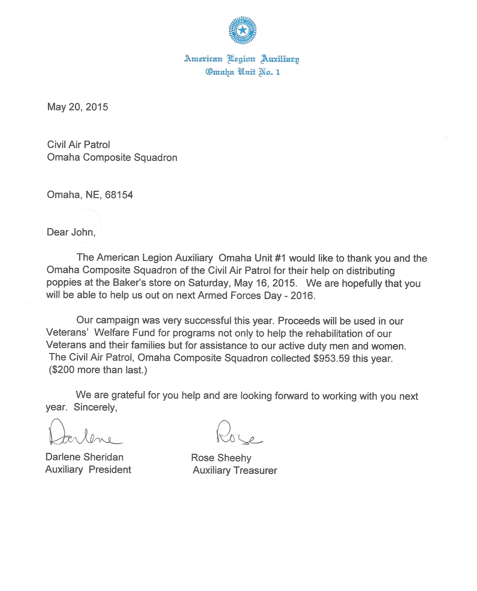 May 2015 omaha composite squadron for American legion donation letter