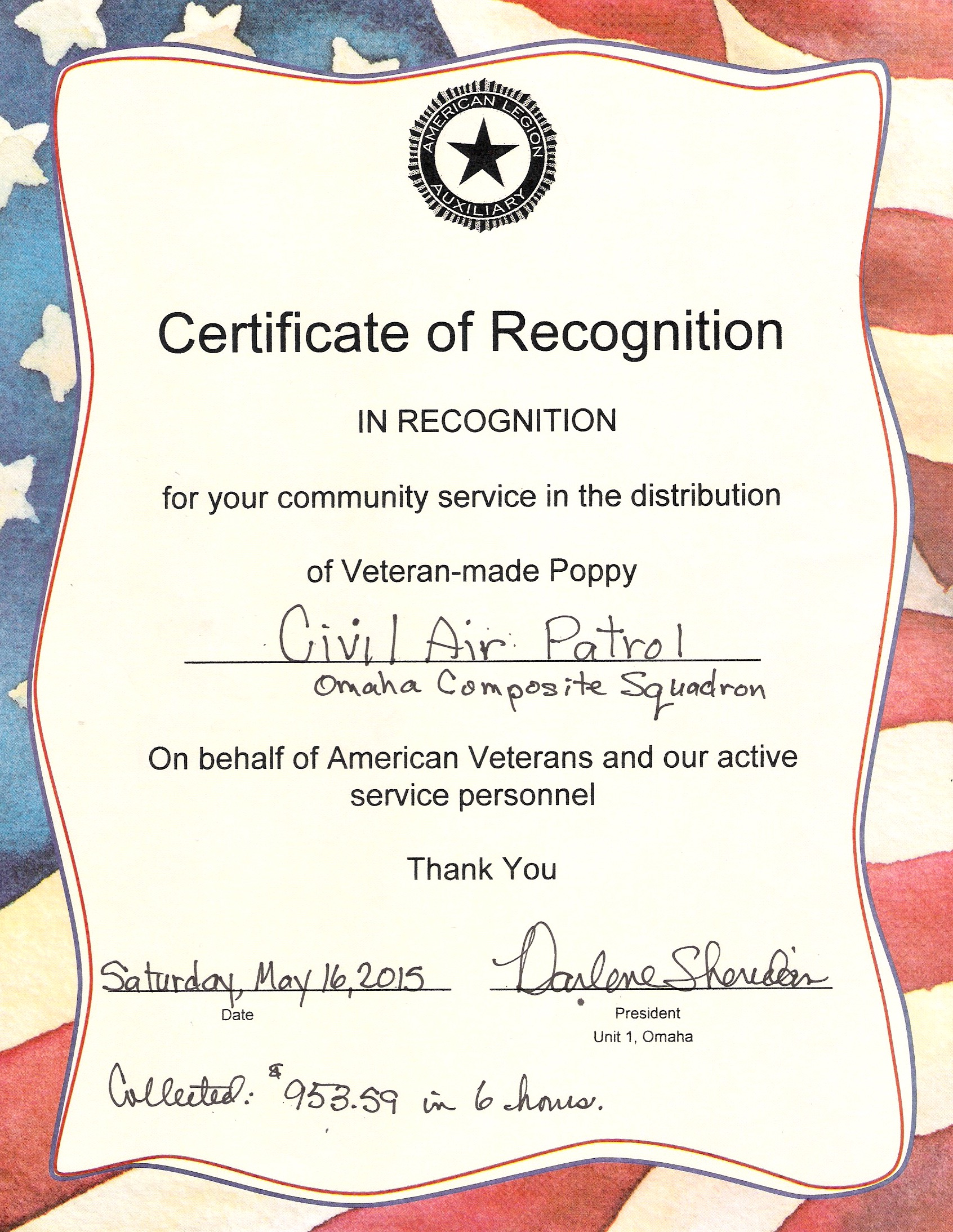 air force certificate of appreciation template - ocs distributes poppies for american legion omaha