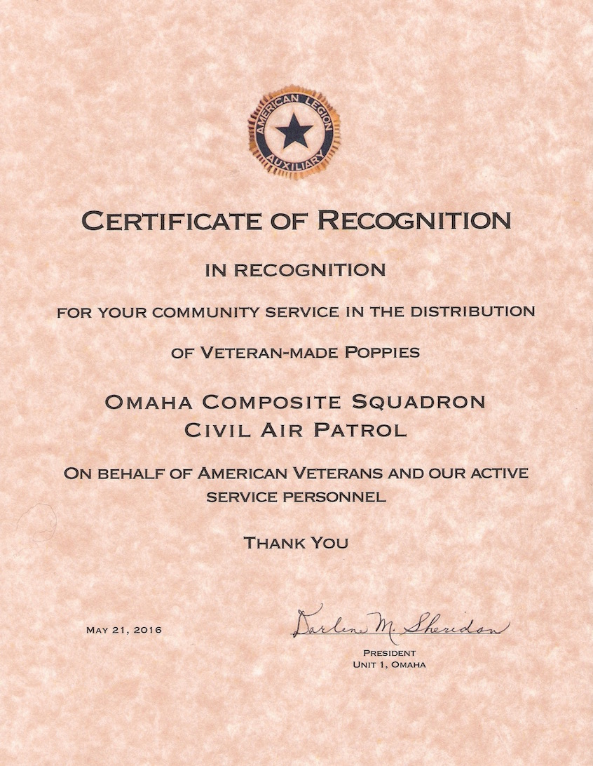 Admin omaha composite squadron page 3 certificate of recognition from the american legion yelopaper Gallery